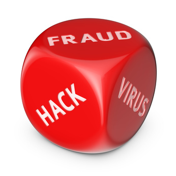 Würfel (rot): Fraud - Hack - Virus
